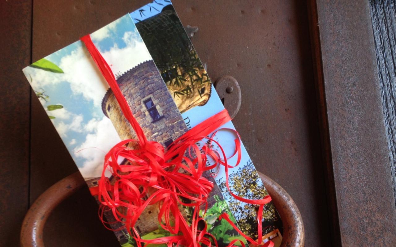Bon cadeau entouré d'un ruban rouge sur la porte d'entrée du château, Coffret cadeau chateau, Château des Ducs de Joyeuse.